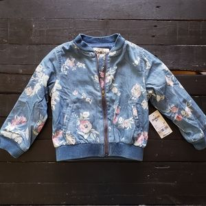 OshKosh Blue Denim White Pink Floral Zip Jacket 2T